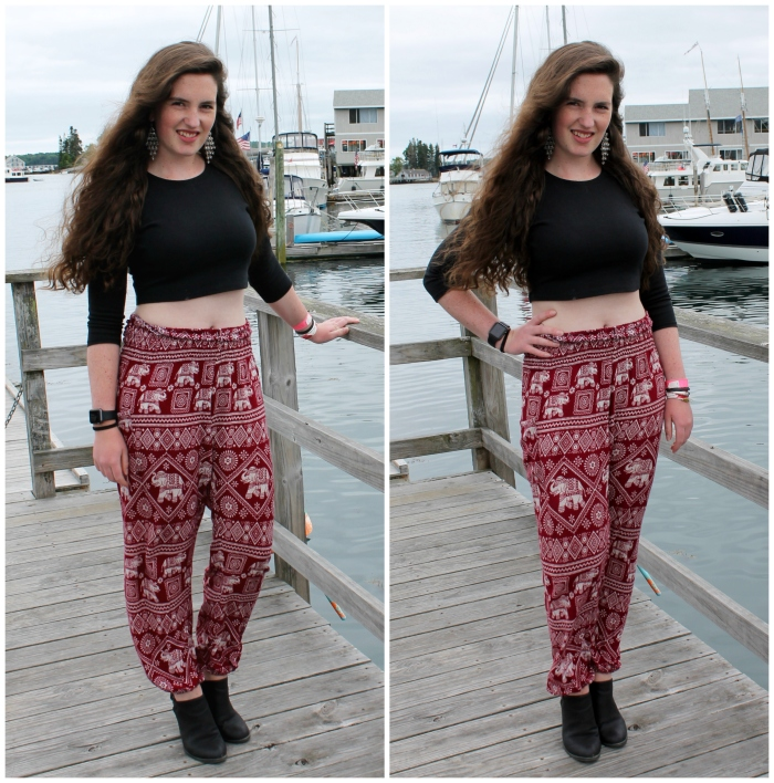 black crop top + elephant pants